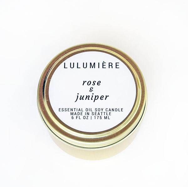Rose & Juniper Gold Tin 100% Essential Oil Candle