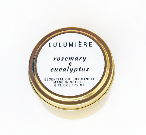Rosemary & Eucalyptus Gold Tin 100% Essential Oil Candle