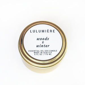 Woods & Winter Gold Tin 100% Essential Oil Candle
