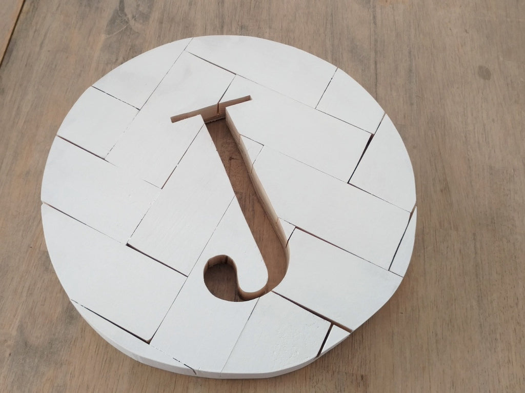 White Herringbone Monogram Round
