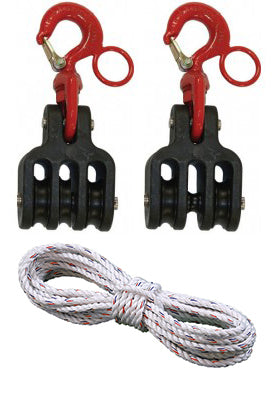 Hastings - Insulated Tackle Blocks w/ 150' Polydac Rope