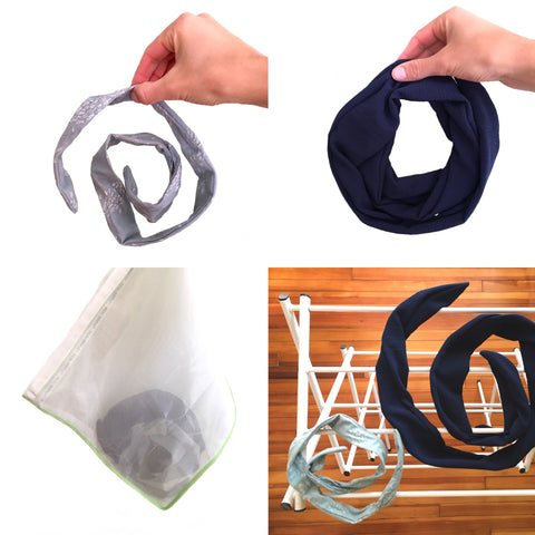 Four images in a collage.  From top left: hand holding a gray blue wired headband wrapped in a spiral; hand holding a dark blue wire-framed headscarf wrapped in a spiral; washing machine delicates bag with scarves inside; two scarves laid out on top of a drying rack.