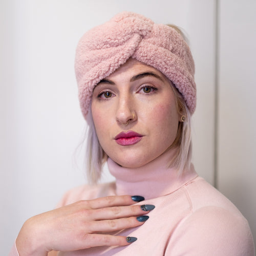 Pink Champagne Faux Shearling Wrap-Ear