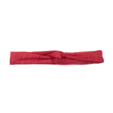 Handmade, skinny wire framed headband with tapered ends in a lightweight, handwoven, deep red khadi.
