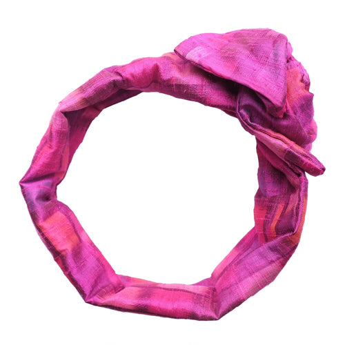 Overview of Pink Patterned Silk Maxi Wire-Framed Headband tied into a rosette on a white background. Luxury, Premium, Wide Silk Headbands, turban style headband. Suitable for all hair types. Adjustable shape and fit, creative styling possibilities, Summer hair, summery headband, easter, valentines day, new years eve, wedding, wedding guest, kentucky derby, spring, fall, winter, new years eve, office, work, boutique, brunch, artisinal, baby shower, beach, pool party, vacation, resort.