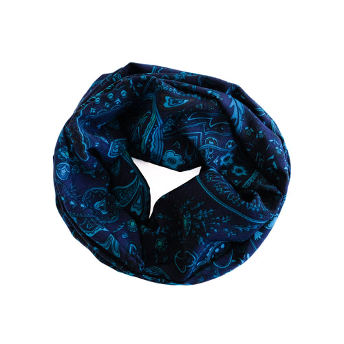 Overview of blue and teal paisley wire-framed headscarf wound in a circle.