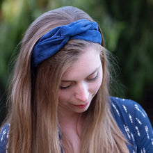 """Blue Wave"" Vegan Suede Maxi Wire-Framed Headband"