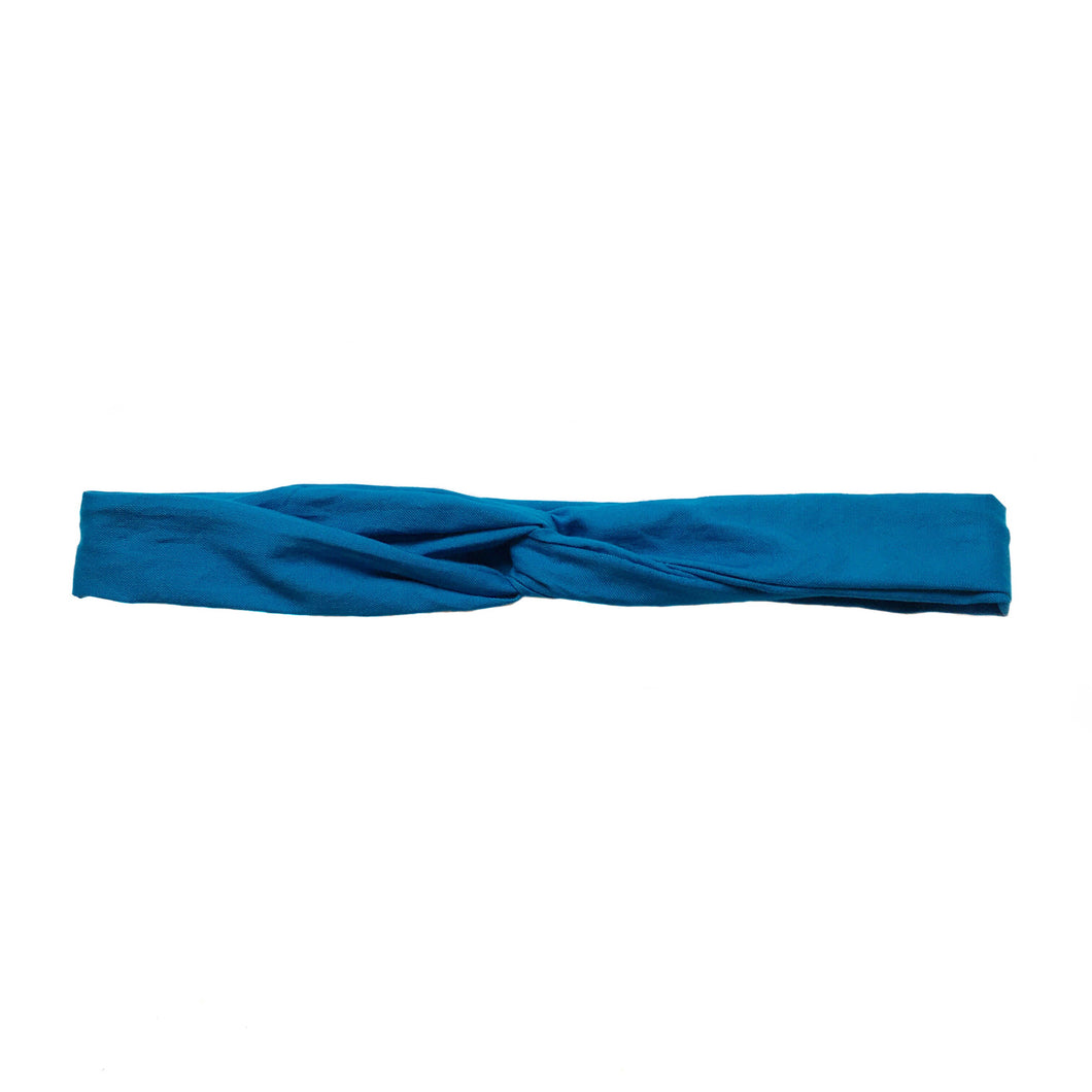 Overview of bright blue headband.