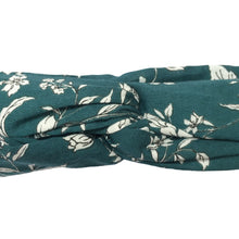 Close up of dark teal cotton head wrap with white floral pattern, tied into a turban style knot. Wire framed bandanna headband. Sculptural, comfortable, skinny hair scarf.  90s, 80s, 70s, 60s, 50s, pin up, punk rock, hippie, afro punk, bohemian, vintage, classic, glamorous, stylish, fall, winter, beachy, natural hair accessory.