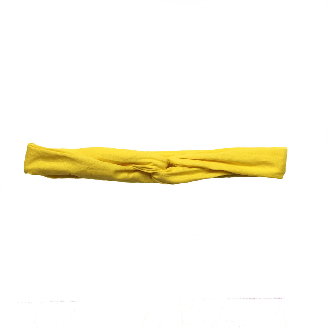 Overview of bright yellow cotton headband.