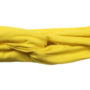 Closeup overview of bright yellow cotton headband.