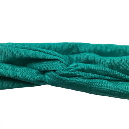 cotton aqua headband, turquoise head wrap,wired adjustable head wrap, blue green hair accessory, headache free headband