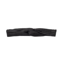 Handmade, skinny, black, turban style headband with wire frame, in a lightweight, handwoven summer fabric that's machine washable. Flexible wire allows you to style this slim, wired headband with tapered ends in multiple ways without slipping or causing headaches.