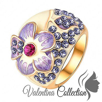 Stunning Sparkling Genuine Austrian Crystal Flower Gold Plated Ring