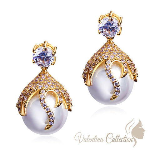 Glamorous Cocktail Wedding Party imitation Pearl plus zirconia yellow gold plated Earrings.