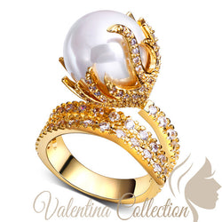 Beautiful Cocktail Gold Plated Synthetic Pearl Crystal Cubic Zirconia Ring