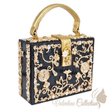 Glamour Evening Black and Gold Pattern Clutch Small Bag