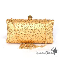 Gold Color Crystal Party Evening Clutch Bag