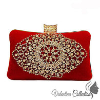 Stunning Red Velvet Evening Clutch Bag with Crystals