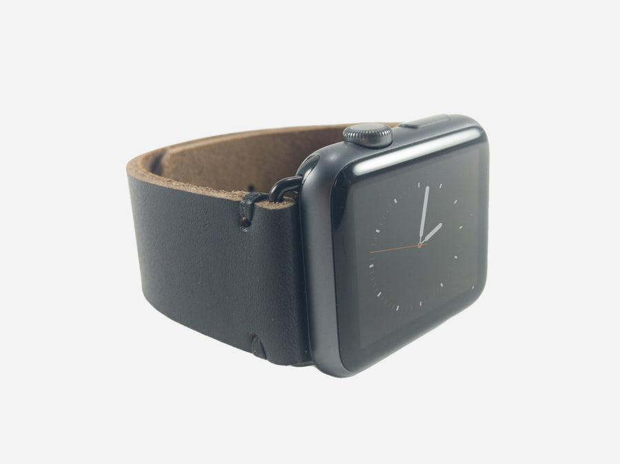 Two-Stitch Black Horween Apple Watch Band