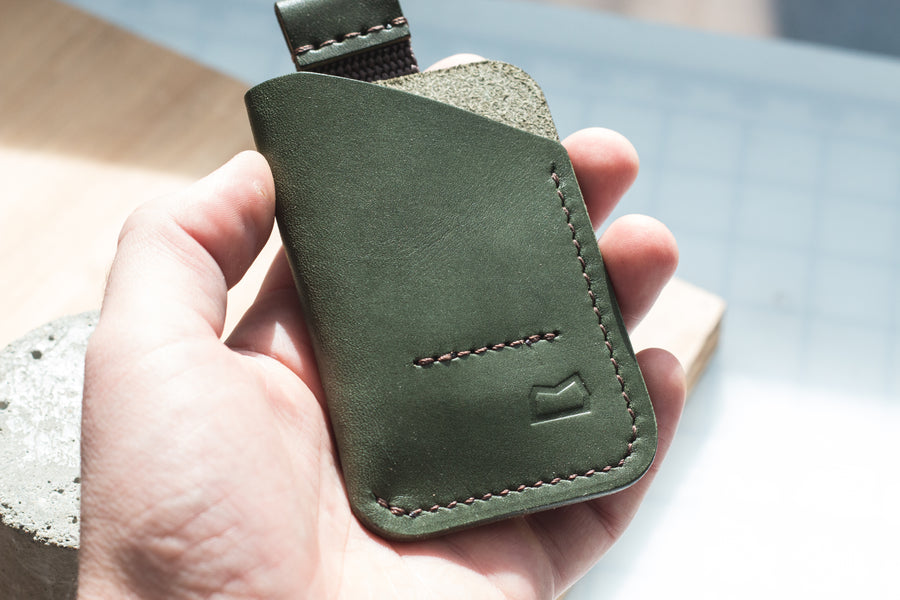 The Anderson Wallet - Wickett and Craig English Bridle, Olive Green (Ready to Ship)