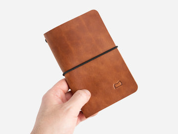 Leather Notebook Cover in Buck Brown Harness