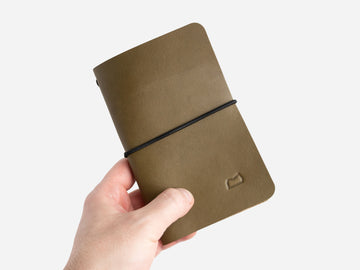 Leather Notebook Cover in Olive Bridle
