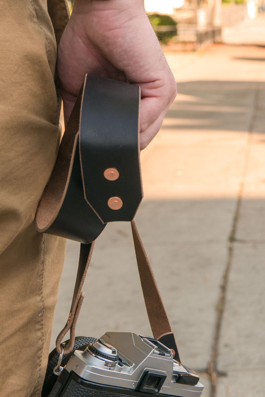 The Ace Camera Strap in Black Horween Chromexcel