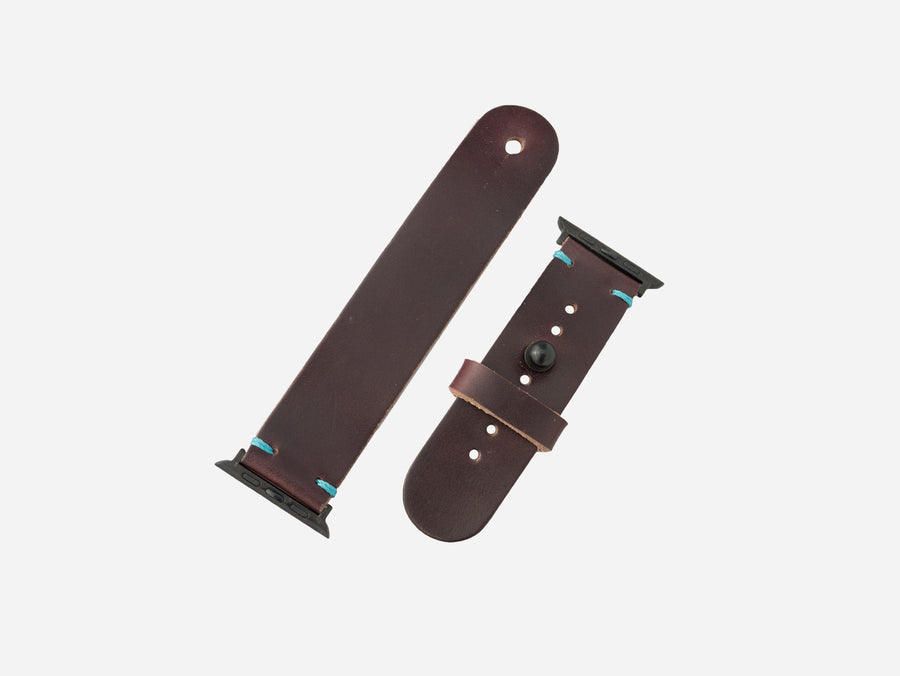 Burgundy Horween Chromexcel® Leather Apple Watch band