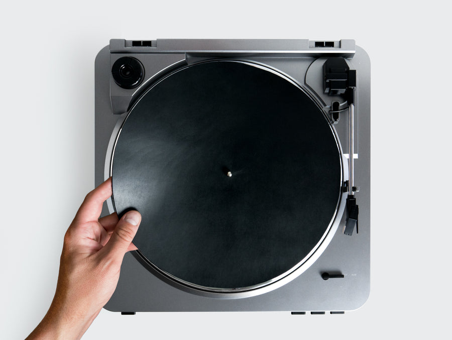 Leather Turntable Mat in Black