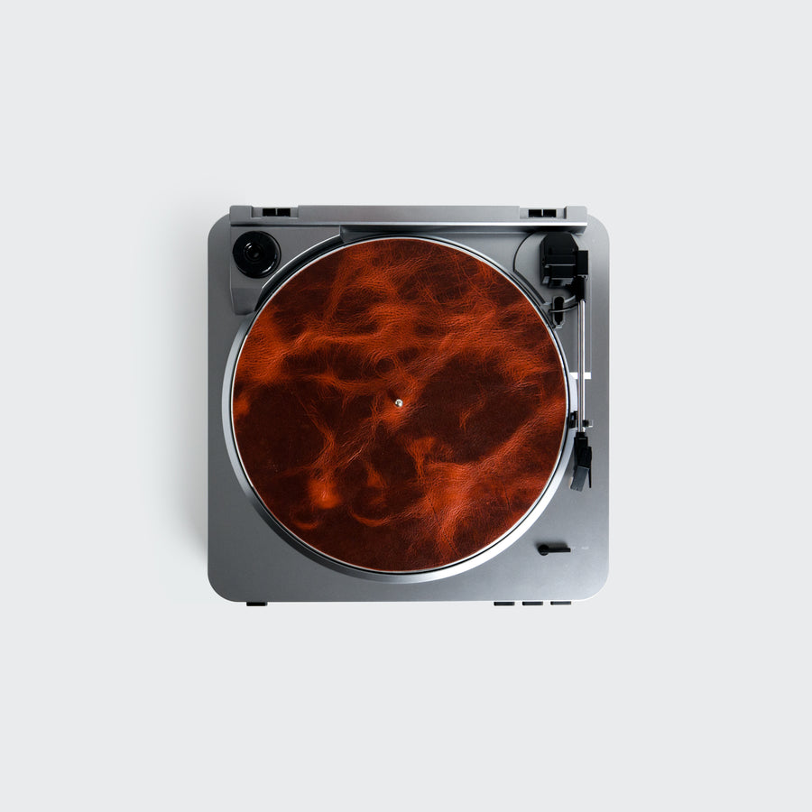 Leather Turntable Mat in Orangeade Fuego