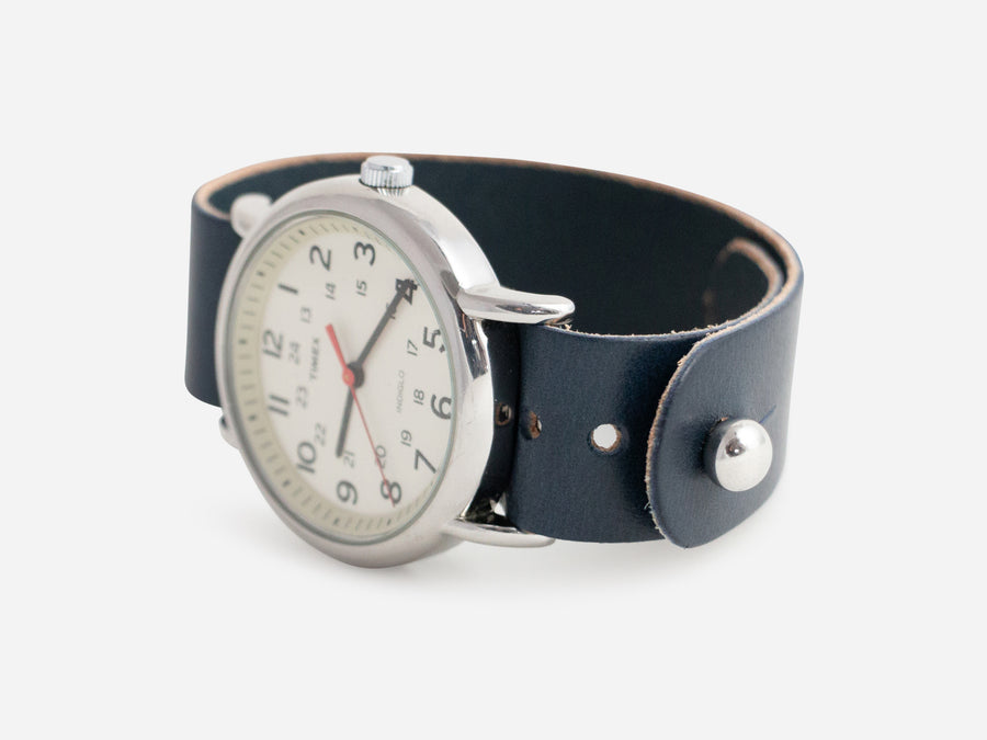 Navy Bridle Pass-Through Watch Band