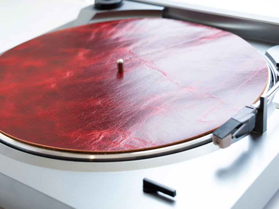 Leather Turntable Mat in Ruby Fuego