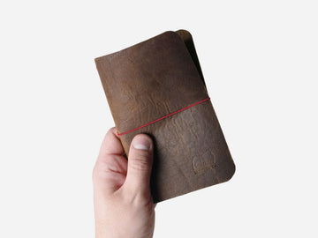 Leather Notebook Cover in Walnut Bison