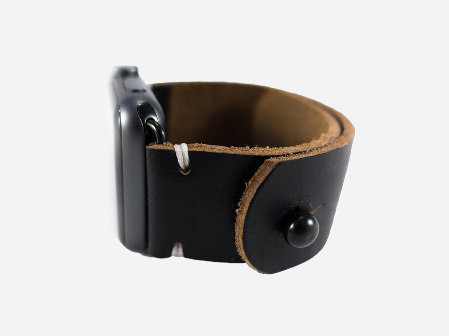 Two-Stitch Black Horween Chromexcel Leather Apple Watch Band