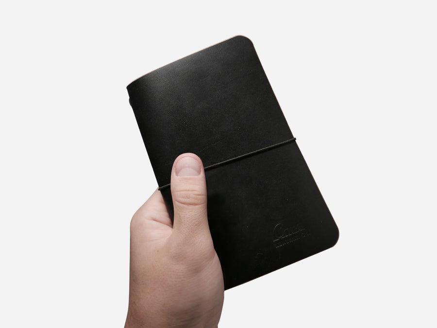 Leather Notebook Cover in Black Chromexcel