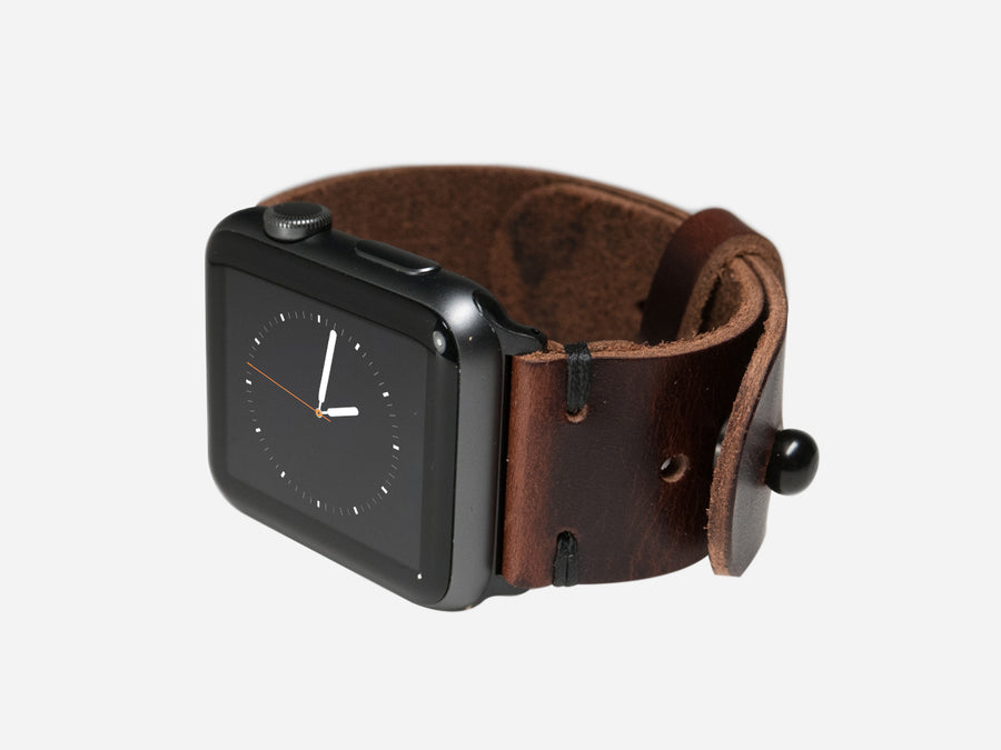 Two-Stitch Burgundy Cordovan Apple Watch Band