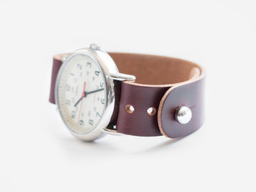 Burgundy Chromexcel Pass-Through Watch Band