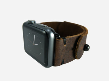 Two-Stitch Chocolate Leather Apple Watch Band