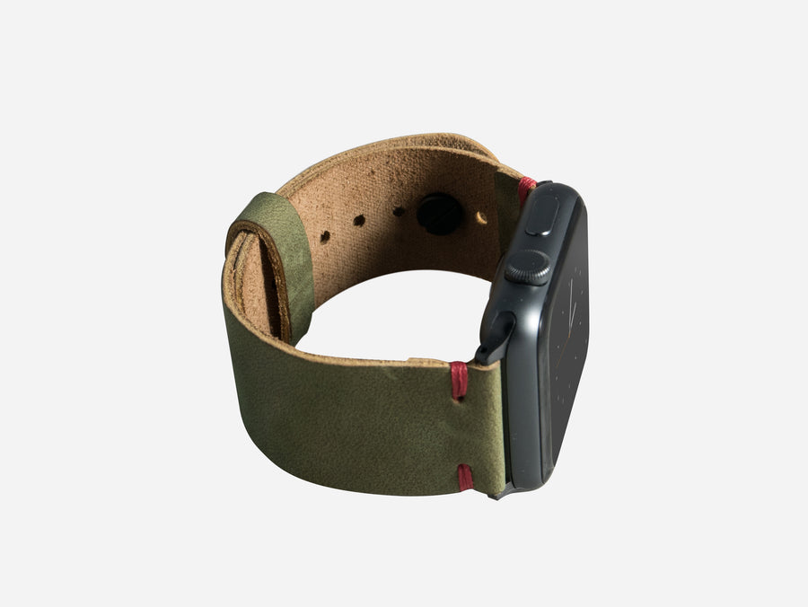 Moss Green Apple Watch Band with Red