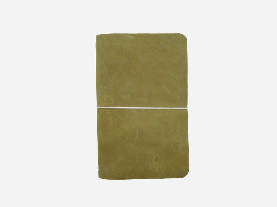 Leather Notebook Cover in Moss Green