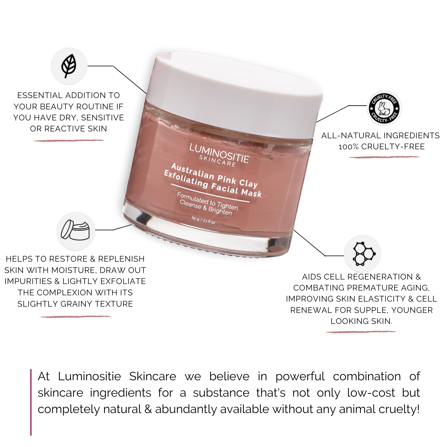 Australian Pink Clay Facial Mask - Luminositie