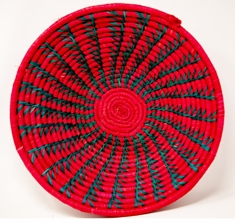Red/Magenta green circular decorative Basket