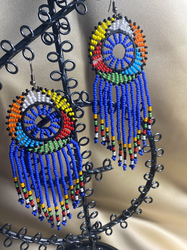 Beaded Earrings in Assorted colors -Blue