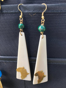 Bone Earrings with Malachite bead and Africa motif