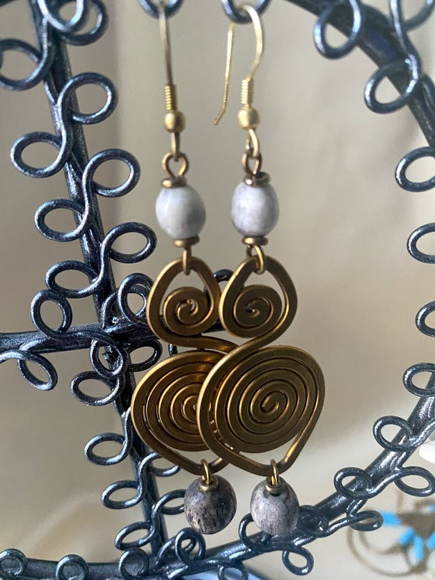 Bead Earrings with brass spiral details