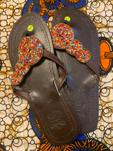 Handmade Brown Leather Sandals Floral Bead detail (Gold outline multi colored inserts)