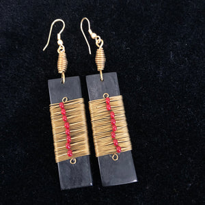 Bone Earrings with Brass and Bead detail