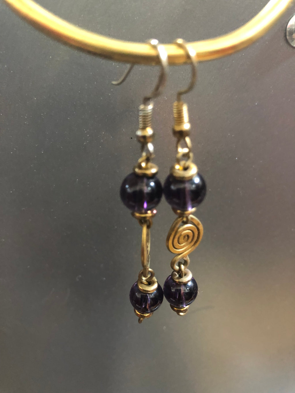 Purple Glass Bead with Brass Swirl detail
