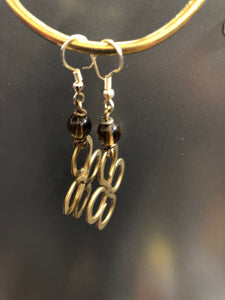 Brass earrings with bead details in various colors